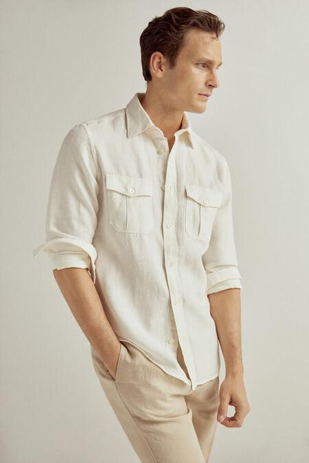 Camisa Dos Bolsillos Lino