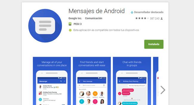 Google Messenger es ahora Android Messages porque hay demasiados Messengers en Android
