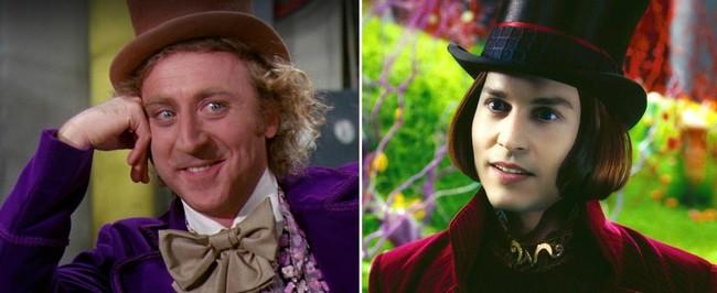 Gene Wilder y Johnny Depp como Willy Wonka