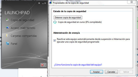 LaunchPad y ejecución de la copia de seguridad