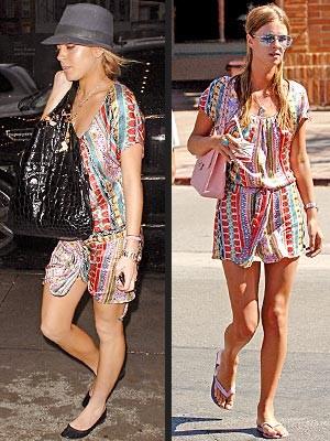 Vestido estampado: ¿Lohan o Hilton?