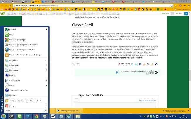 Classic Shell y el botón Inicio