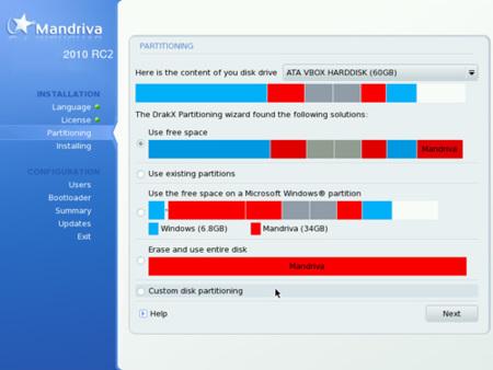 Nuevo diálogo de particionado de discos en Mandriva Linux 2010