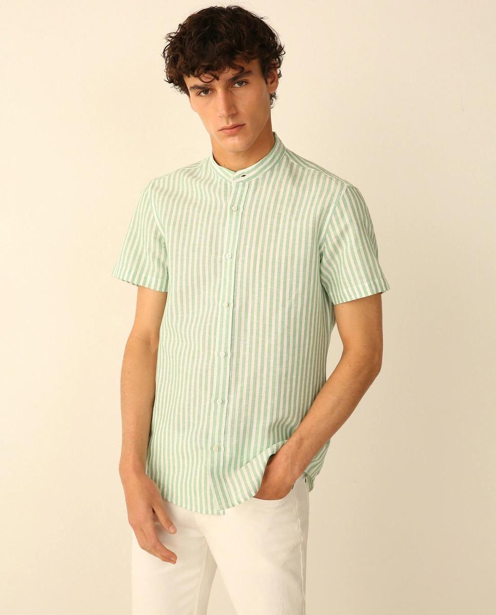 Camisa de hombre slim de rayas verde