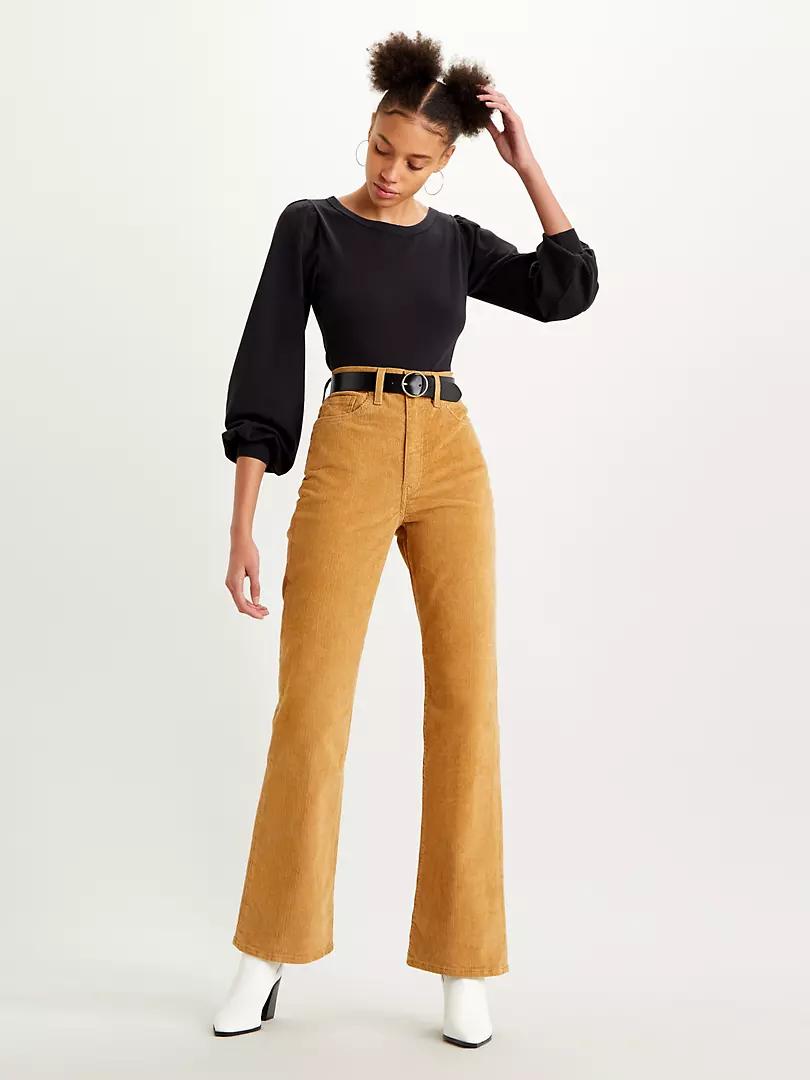 Pantalones de campana mostaza