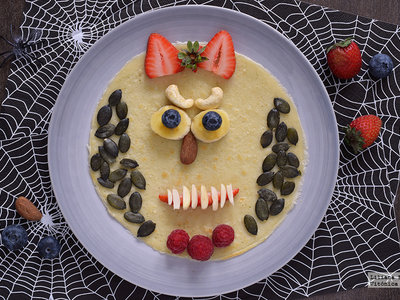 Crêpes monstruosos para Halloween. Receta saludable