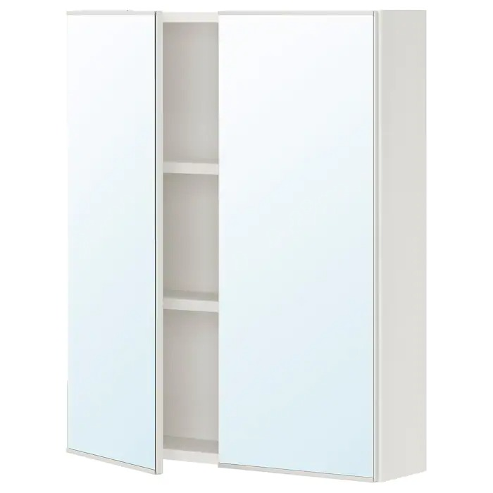 ENHET Armario &espejo, 2 puertas, blanco60x15x75 cm