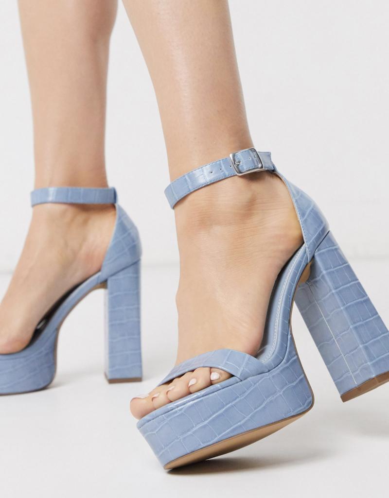 Sandalias de tacón cuadrado azules con plataforma Noon de ASOS DESIGN