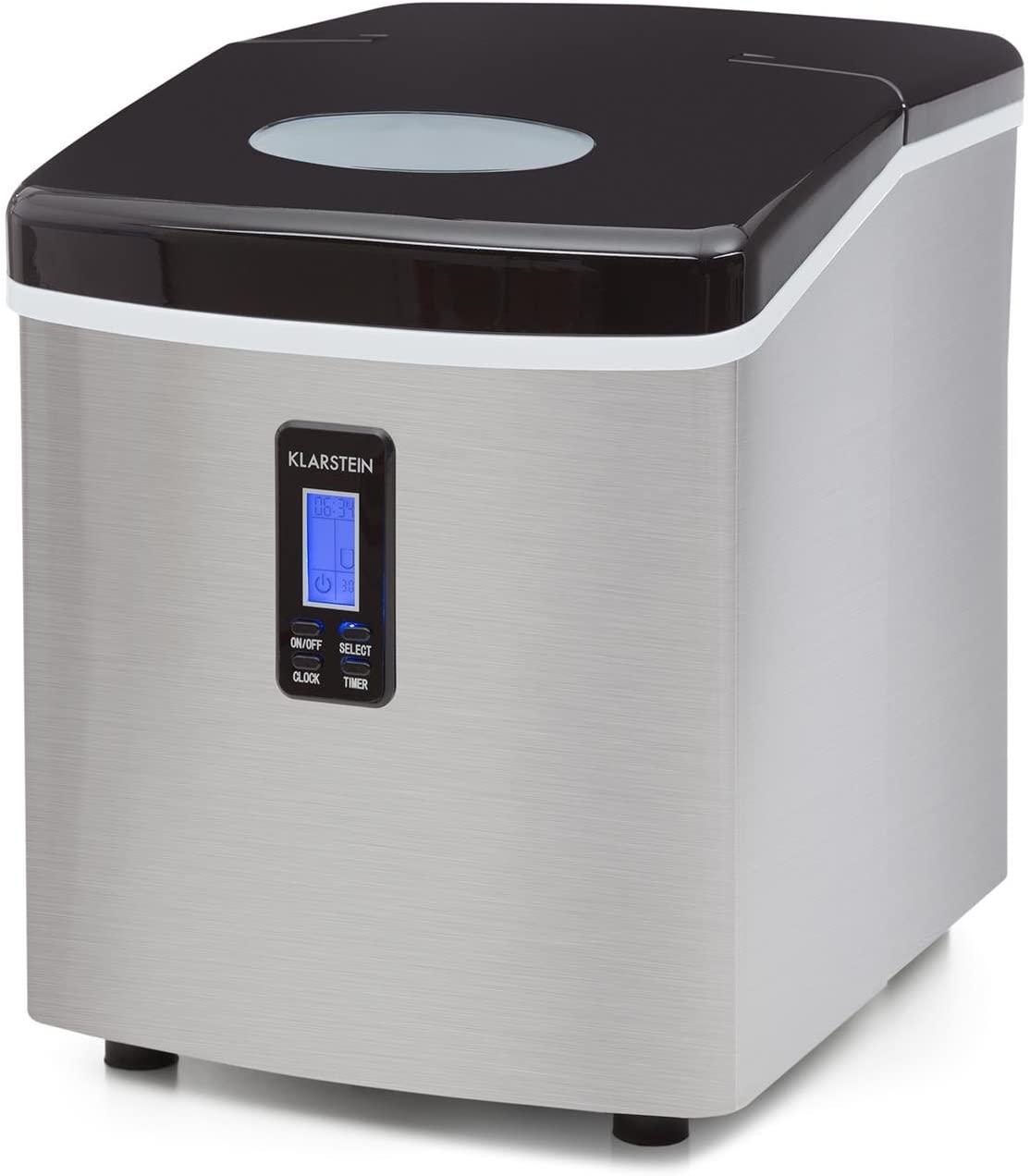 Klarstein Mr. Frost - Máquina de hacer hielo, Tanque de agua 3,3 L, Capacidad de 15 kg, 150 W, 3 tamaños, Preparación en 6-13 min. Aprox, Temporizador, Pantalla LCD, Indicador nivel agua, Negro