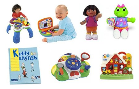 Siete juguetes en castellano e inglés para bebés y niños