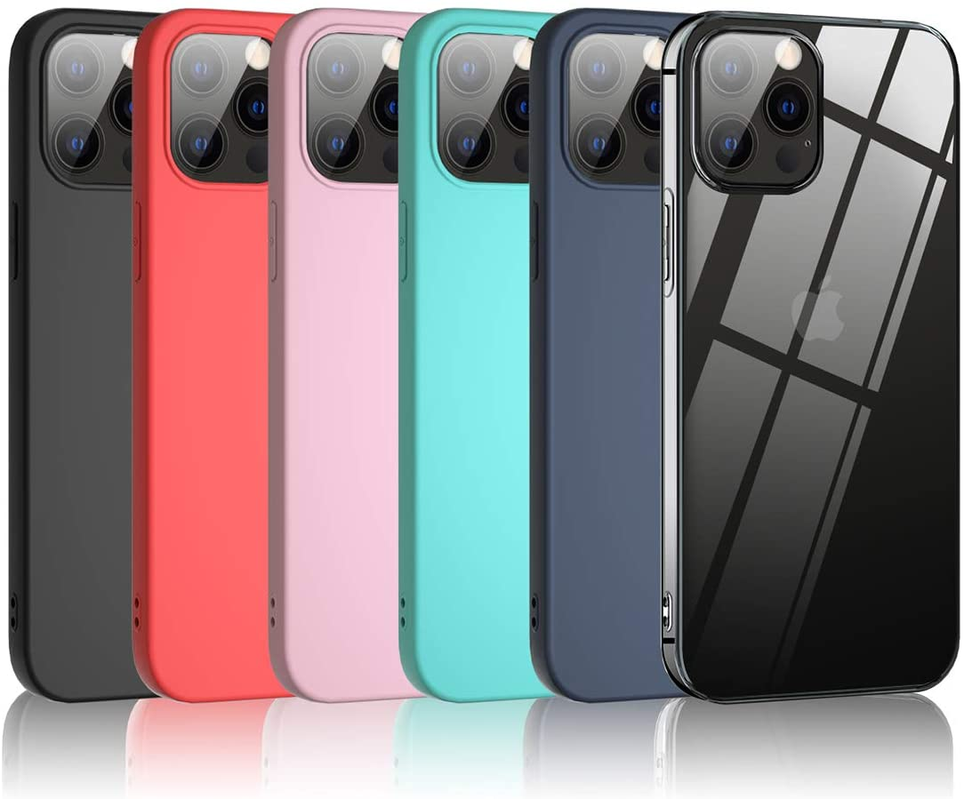 Bkeke 6 x Funda iPhone 12 Mini de 5.4 Pulgadas 2020, 6 Unidades Caso Juntas Fina Silicona TPU Flexible Colores Carcasas iPhone 12 Mini - Transparente, Negro, Azul Oscuro, Rosa, Menta Verde, Rojo
