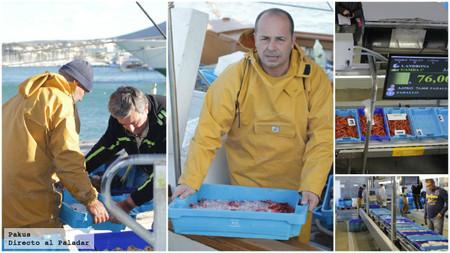 descargando cajas pescado en la lonja