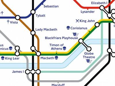 El metro de Londres celebra el año Shakespeare con una edición especial de su mapa