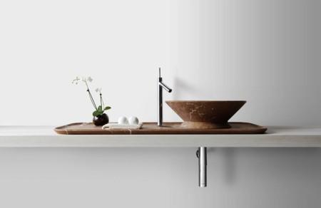 Elegante y original esta propuesta de Kreoo en mármol para el lavabo