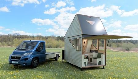 Esta caravana modular es una mini casa portátil con cocina, dormitorio, baño... y ¡hasta dos plantas!