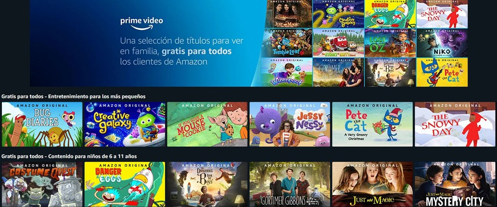 Amazon Prime Video offers a kids