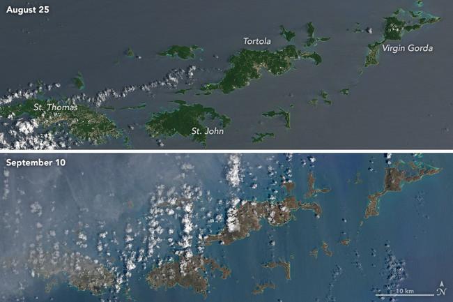 El huracán Irma arrasó con la vegetación de las islas del Caribe a un nivel que provocó que cambiaran de color