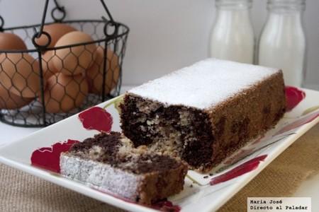 Plum cake de chocolate marmolado, receta
