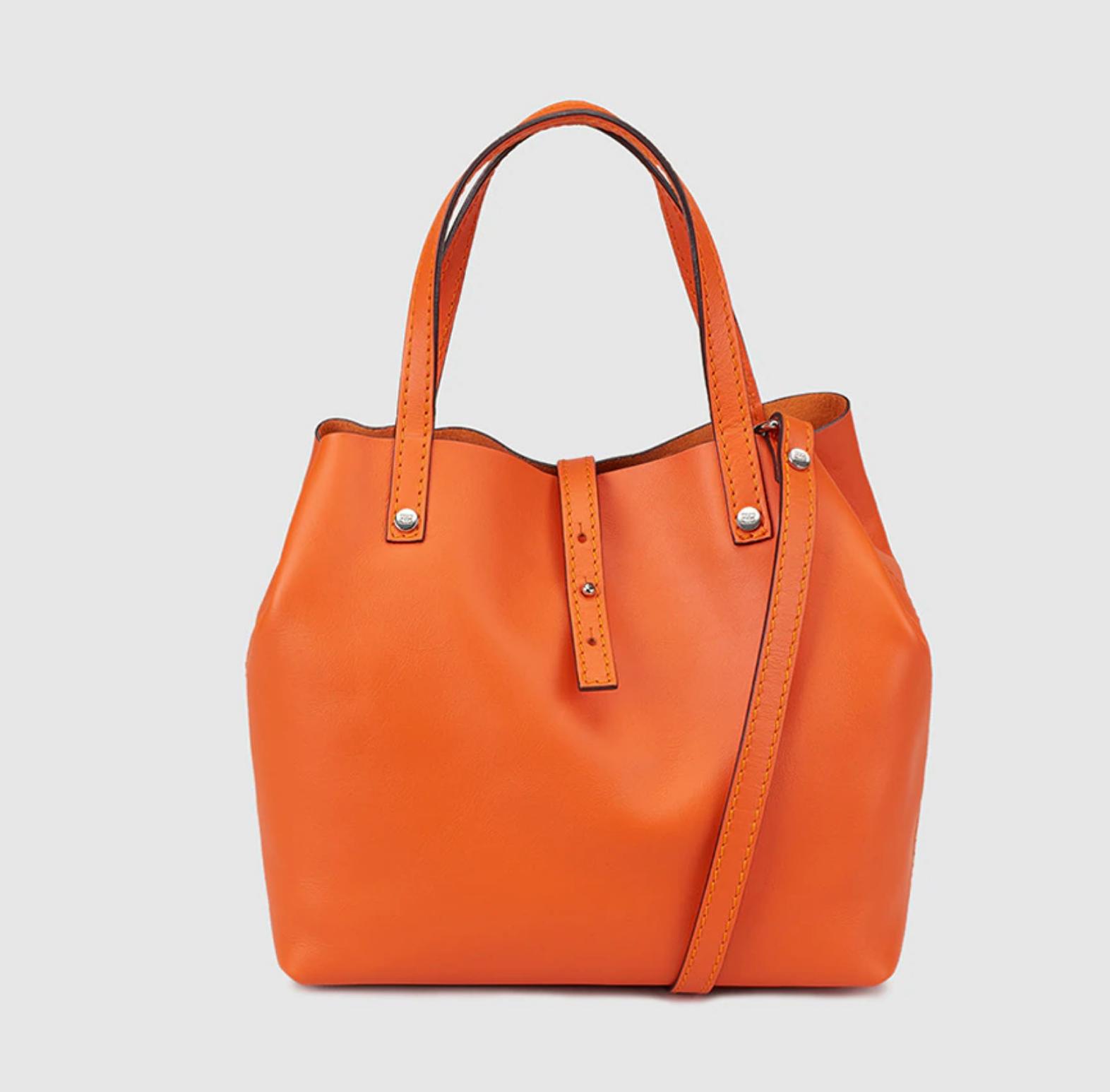 Shopping pequeño Sofia de piel en naranja