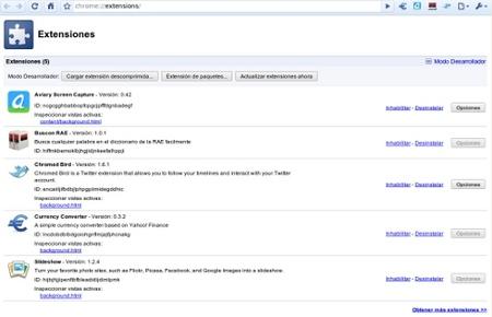 Extensiones en el navegador