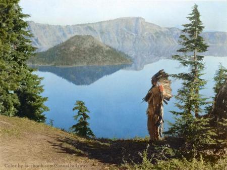 Klamath Indian Chief Praying To The Spirits At Crater Lake, Oregon, 1923