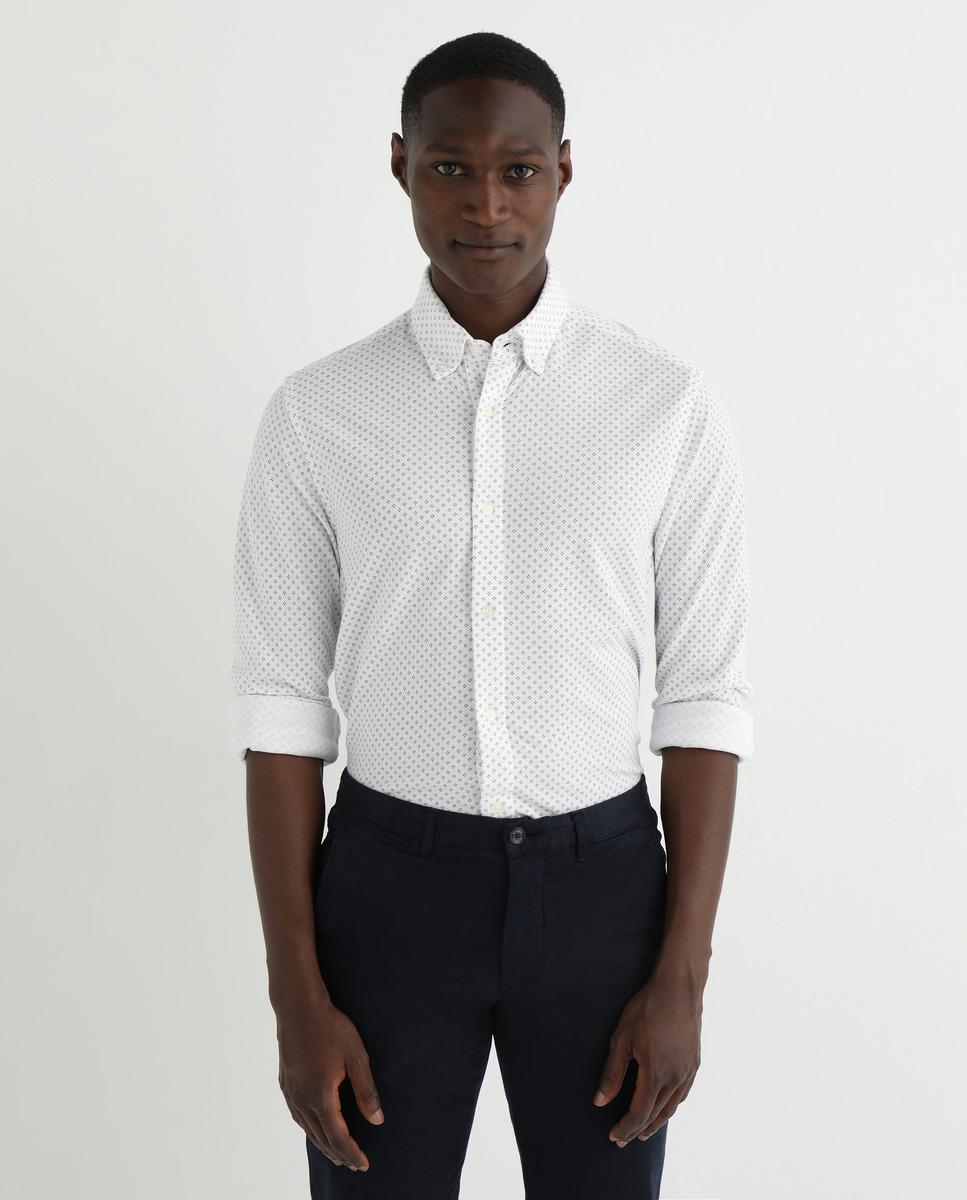 Camisa de hombre slim de punto estampada blanca