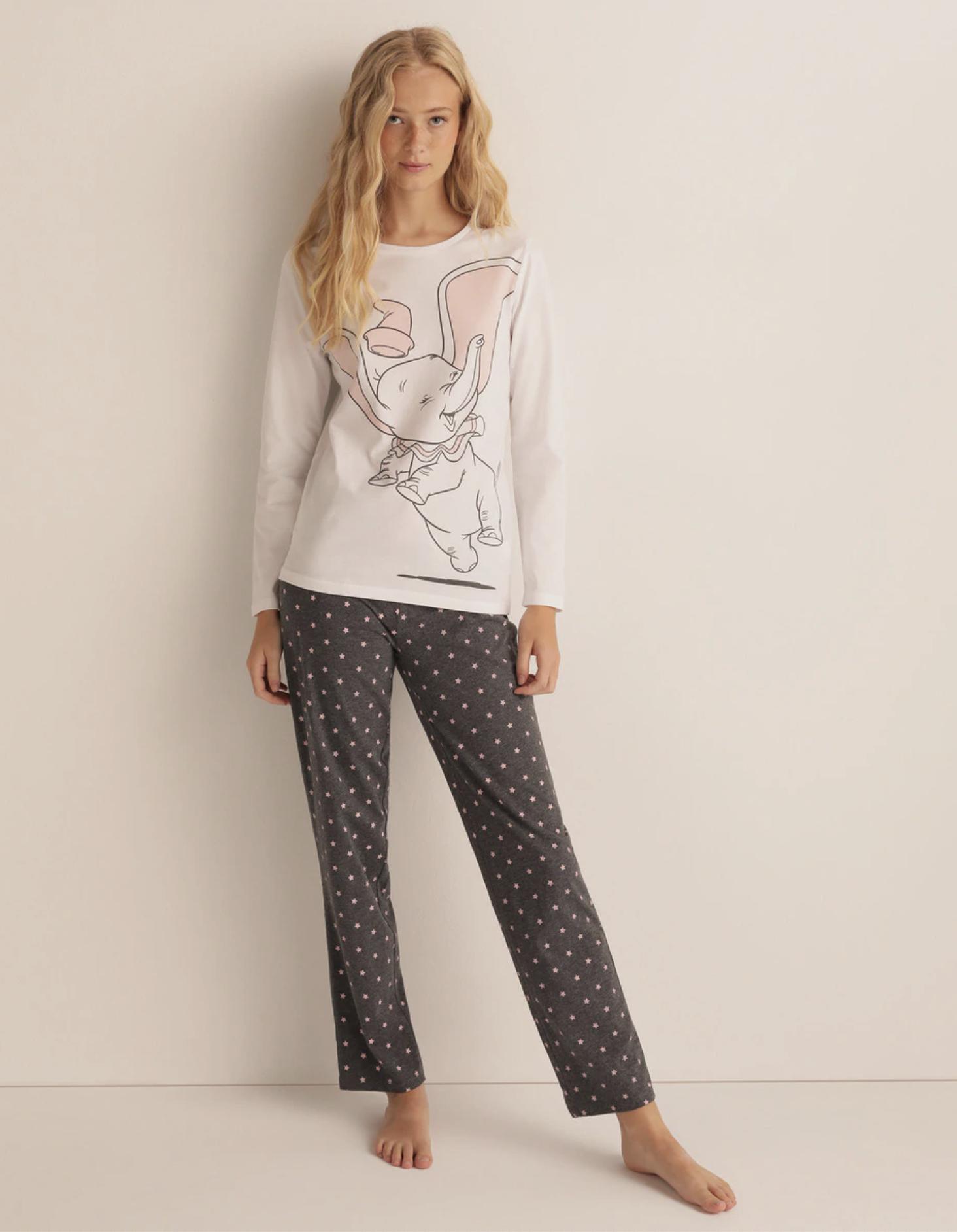 Pijama largo de mujer bicolor de Dumbo