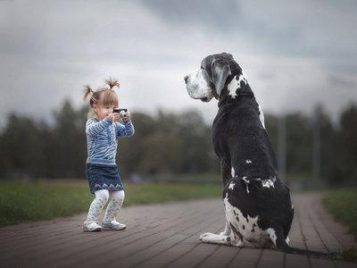 'GreatDaneChronicles', las tiernas fotos de niños pequeños y grandes perros de Andy Seliverstoff