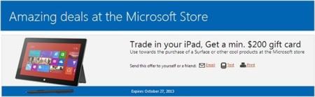 Microsoft intenta migrar nuevos usuarios a Surface con 200 dólares por un viejo iPad