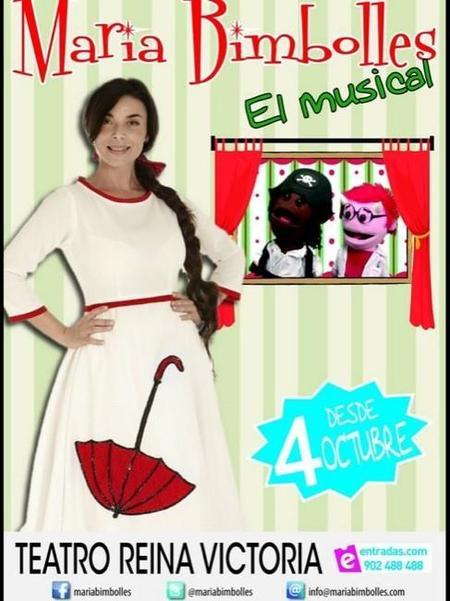 """El próximo 4 de octubre se presenta el espectáculo """"María Bimbolles, El Musical"""" en el Teatro Reina Victoria de Madrid"""