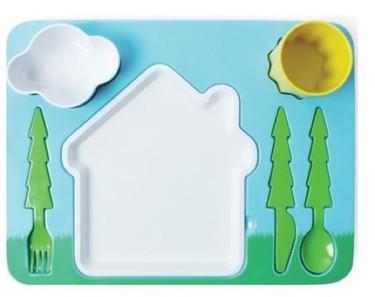 Servicio de mesa para niños, inspirado en un paisaje