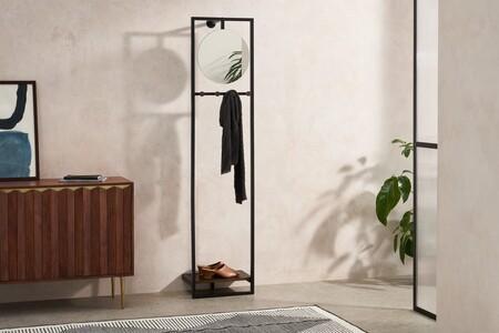 Mueble para recibidor con espejo Nabiel, negro