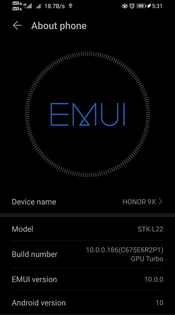 Honor 9x Android 10