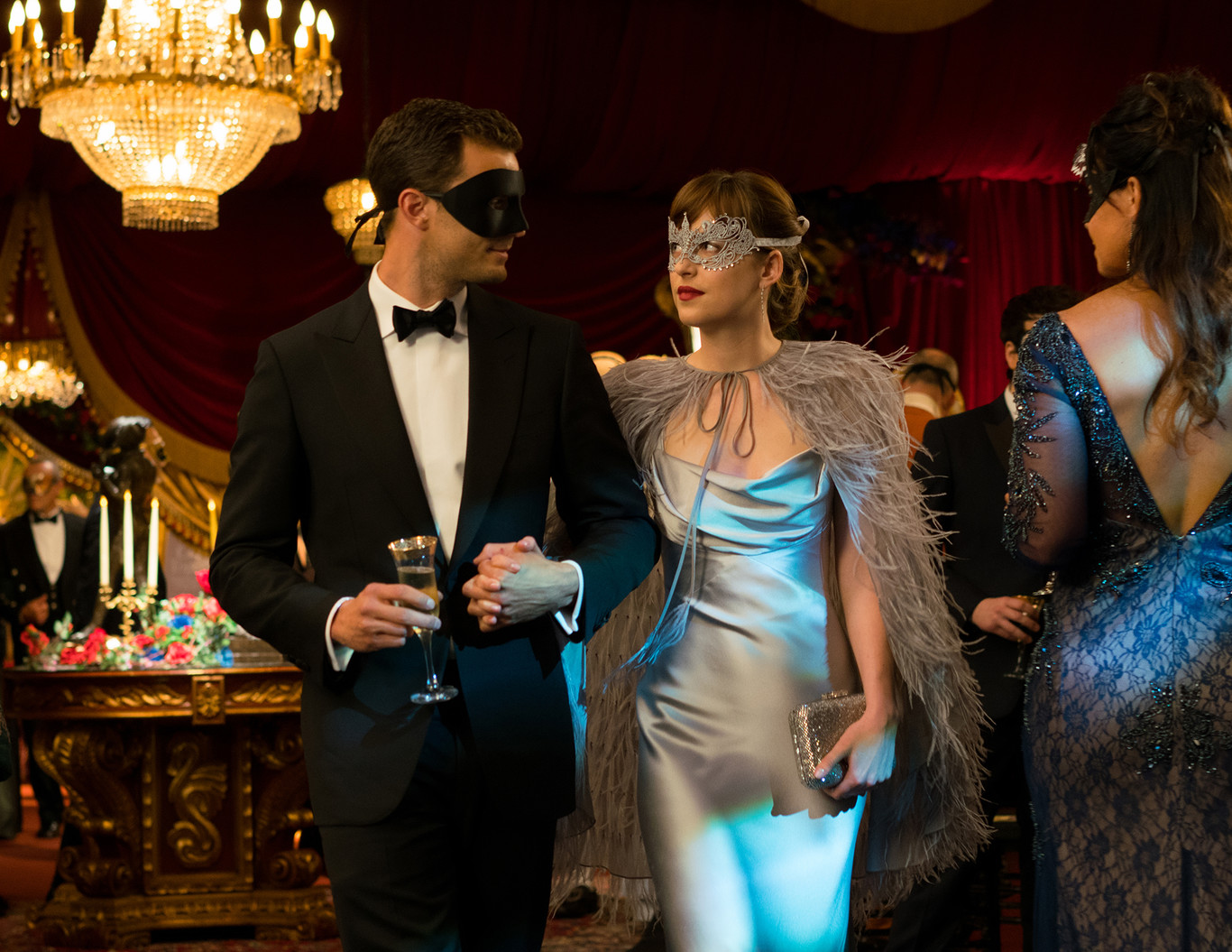 vestidos de películas de Hollywood Dakota Johnson en 50 sombras de Grey