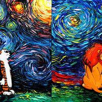 Pikachu, Calvin & Hobbes y El Rey León, vistos a través de los ojos de van Gogh en plena noche estrellada