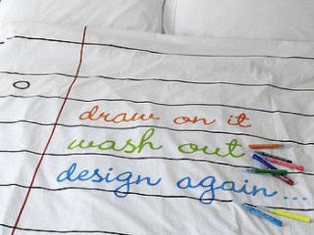 Una buena idea: un edredón para escribir y dibujar