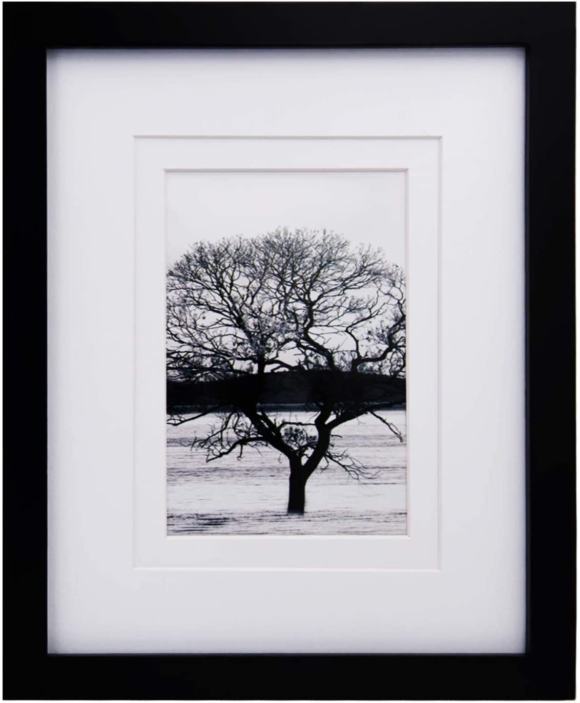 Egofine - Marco de fotos de madera maciza con cristal de plexiglás HD para colocar sobre un mueble o colgar en la pared, color negro