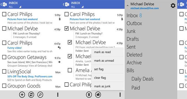 Nuevo aspecto de Outlook.com para Android
