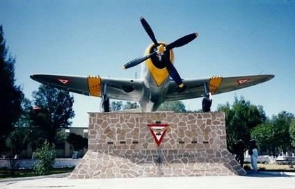 The P 47 Monument At Santa Lucia Air Base With Seven Death Masks In 19941