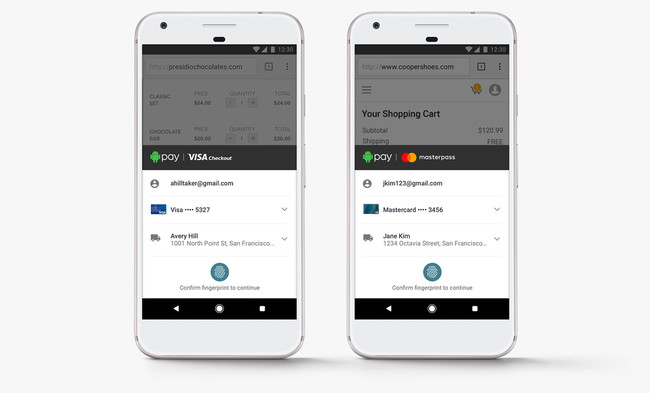 Android Pay Visacheckout Masterpass