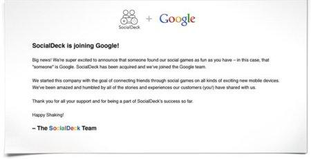 Google sigue comprando juegos sociales, ahora le toca a SocialDeck