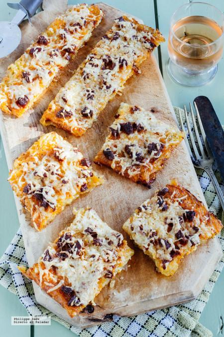 Pizza de patata y chorizo sin gluten. Receta fácil