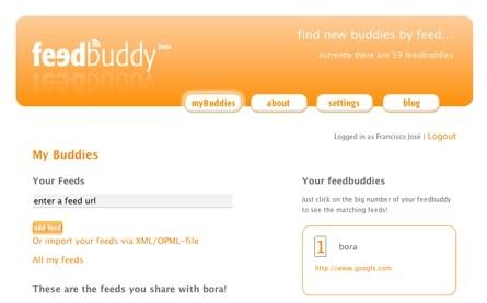 Feedbuddy, conociendo otros canales rss de otros usuarios partiendo de nuestras suscripciones