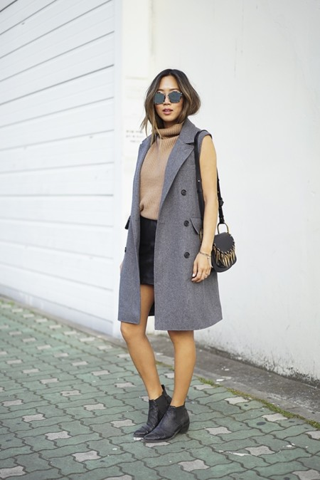 Aimee Song Of Stye Gray Sleeveless Coat Vince Turtleneck Sweater Dior Sunglasses