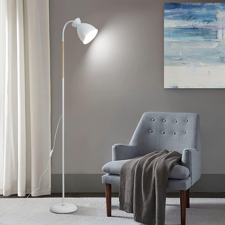 Anten Lámpara de pie giratoria sin bombilla E27, máx. 60 W, 1 foco, color blanco, vintage, altura: 159 cm, para dormitorio, salón, oficina