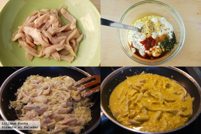 Pollo marinado con salsa de yogur picante. Pasos