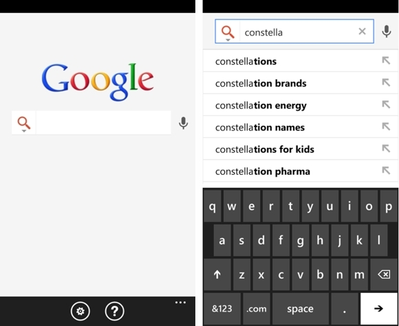 Google Search App para Windows Phone 7.5 Mango