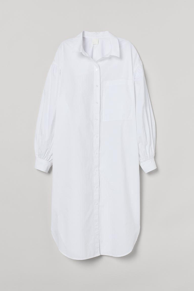 Vestido camisero de algodón