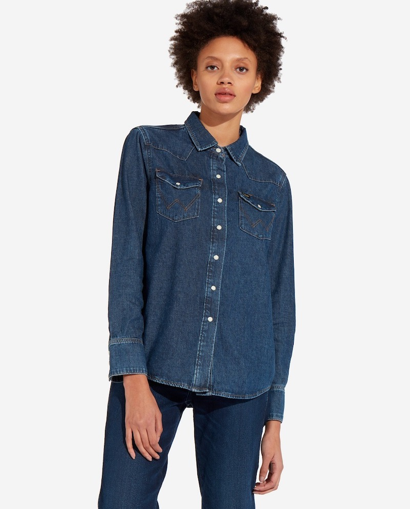 Camisa de mujer Wrangler Indigood Icons 27WW vaquera azul índigo
