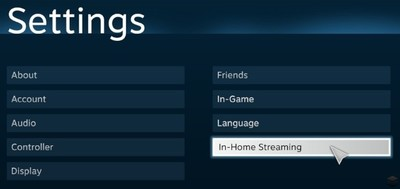 In-Home, el streaming de juegos de Steam